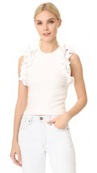 3.1 Phillip Lim Solid Ruffle Sport Tank With Zippers White