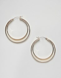 Missguided Small Double Hoop Gold Earrings Rose Gold