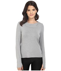 Trina Turk Jersey Long Sleeve Hooded Top Heather Grey Women's Long Sleeve Pullover Gray