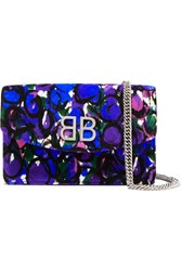 Balenciaga Bb Chain Printed Quilted Velvet Shoulder Bag Blue