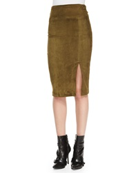Alice Olivia Tani Suede Pencil Skirt Olive
