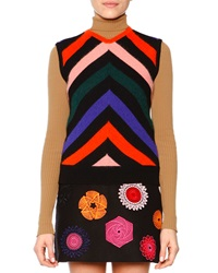 Msgm Sleeveless Chevron Print Knit Pullover