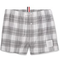 Thom Browne Checked Cotton Boxer Shorts Light Gray