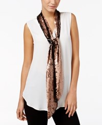 Inc International Concepts Reversible Sequined Skinny Scarf Only At Macy's Bronze