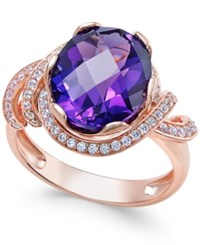 Macy's Amethyst 4 1 4 Ct. T.W. And White Topaz 1 3 Ct. T.W. Ring In 14K Rose Gold Plated Sterling Silver