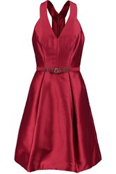 Theia Embellished Taffeta Mini Dress Red