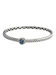 Effy Blue Topaz Bangle In Sterling Silver With 18 Kt. Yellow Gold