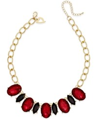 Thalia Sodi Gold Tone Large Red Crystal Statement Necklace Only At Macy's