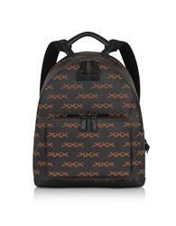 Ermenegildo Zegna Backpacks Black Xxx Printed Coated Canvas And Vicuna Backpack