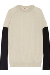 Marni Bow Embellished Color Block Cashmere Sweater Cream
