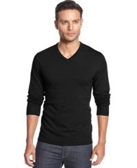 Alfani Black V Neck Sweater Deep Black
