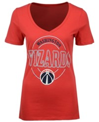 5Th And Ocean Women's Washington Wizards Circle Glitter T Shirt Red