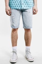 Topman Bleach Destroyed Denim Shorts Blue