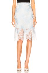 Carven Lace Midi Skirt In Blue Floral White Blue Floral White
