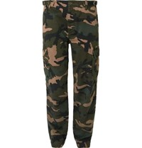 Valentino Slim Fit Camouflage Print Cotton Cargo Trousers Green