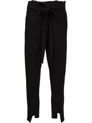 Ann Demeulemeester Belted Fold Trousers Black