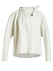 Isabel Marant Chay Tie Neck Leather Top White
