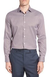 Calibrate Big And Tall Trim Fit Non Iron Check Dress Shirt Burgundy Royale