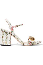 Gucci Floral Print Leather Sandals White
