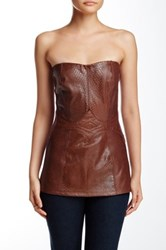Sky Ametz Genuine Leather Strapless Tank Brown