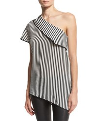 Diane Von Furstenberg One Shoulder Striped Side Slit Silk Top Black White Black Pattern