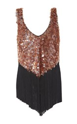 Sally Lapointe Fringe Detail Scalloped Beaded Tank Pink