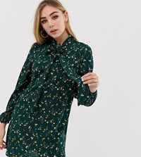 Fashion Union Pussybow Shirt Dress In Floral Green Floral