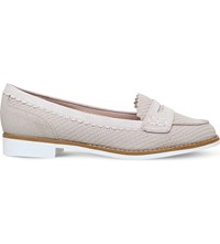 Miss Kg Noah Snake Effect Micro Suede Loafers Nude