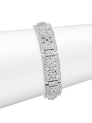 Saks Fifth Avenue Art Deco Filigree Crystal Bracelet Rhodium