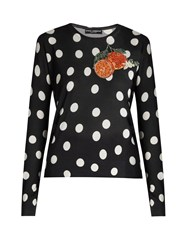 Dolce And Gabbana Orange Applique Polka Dot Silk Top Black White
