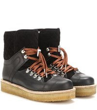 Ganni Mira Shearling Lined Suede And Leather Boots Black