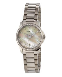 Gucci G Timeless Stainless Steel And Mother Of Pearl Watch With Diamonds White