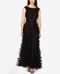 Tahari By Arthur S. Levine Asl Embroidered Column Gown Black