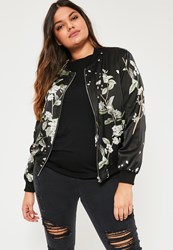 Missguided Plus Size Black Floral Print Bomber Jacket