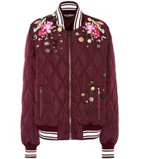 Dolce And Gabbana Embroidered Bomber Jacket Purple