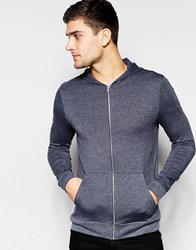 Asos Lightweight Jersey Muscle Zip Up Hoodie In Navy Navy