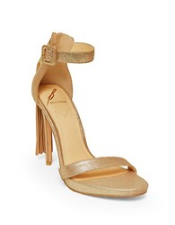 Brian Atwood Tosca Tassel Ankle Strap Sandals Gold
