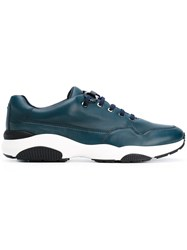 Salvatore Ferragamo Lace Up Sneakers Men Leather Nappa Leather Polyester Rubber 10 Blue