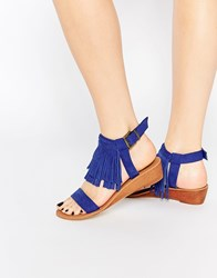 Asos Fabio Fringe Mini Wedge Sandals Cobalt Blue