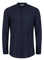 Topman Blue Navy And Gold Geo Flower Print Casual Shirt