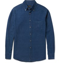 Ermenegildo Zegna Erenegildo Sli Fit Garent Dyed Button Down Collar Deni Shirt Blue