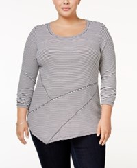 Inc International Concepts Plus Size Striped Asymmetrical Tunic Only At Macy's Bright White