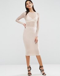 Asos Mesh Top Long Sleeve Midi Bodycon Dress Nude Black