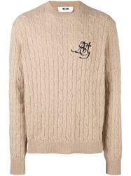 Msgm Cable Knit Jumper Nude And Neutrals
