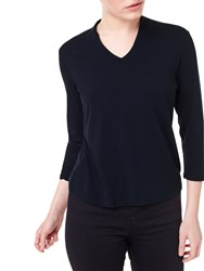 Precis Petite India V Neck Jersey Top Navy