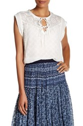 Rebecca Taylor Sheer Embroidered Silk Blouse White