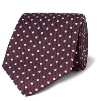 Dunhill 8Cm Polka Dot Mulberry Silk And Cotton Blend Jacquard Tie Burgundy