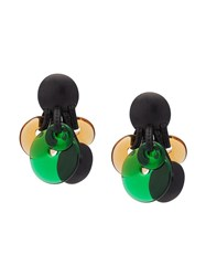 Monies Disc Cluster Clip On Earrings Black