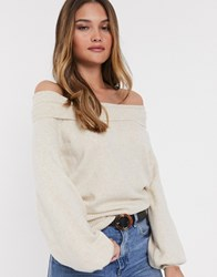 River Island Bardot Sweater With Bell Sleeves In Beige