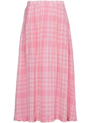 Rosie Assoulin Checked Voile Midi Skirt Pink And Purple